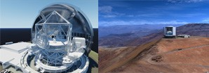 left:courtesy M3 Engineering and TMT International Observatory LLC; right: courtesy GMT Mason Media and GMT Project